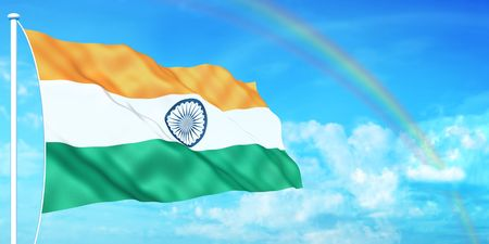 Indian flag on beautiful sky background