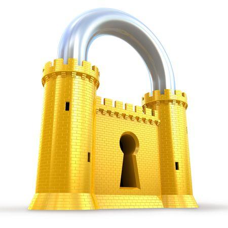 Photo pour Mighty fortress as a padlock - image libre de droit