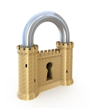 Photo pour Security concept. Padlock as fortress isolated on white - image libre de droit