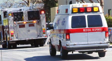emergency medical response team and ambulance