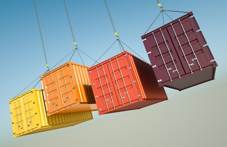 Four shipping containers during transport. 3D rendered image.