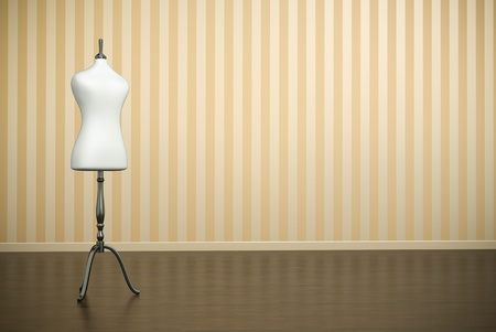 Old-fashioned interior with white clothing mannequin. 3D render.
