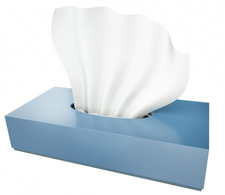 Blue tissue box isolated on white background  3D render