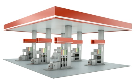 Contemporary gas station isolated on white background. 3D render