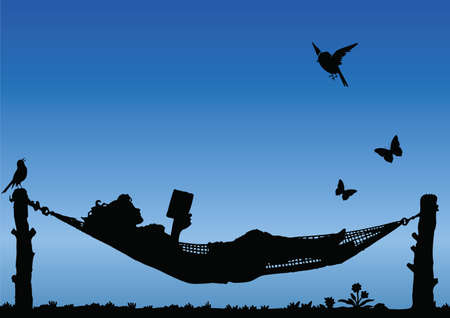 Illustration for Woman Reading in a Hammock against a blue sky - Royalty Free Image