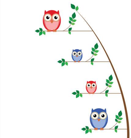 Owl family tree isolated on white background