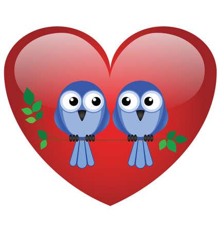 Two valentine lovebirds sat on a branch