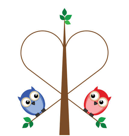 Valentine girl and boy owls forming a branch heart