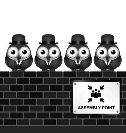 Monochrome comical assembly point sign on brick wall
