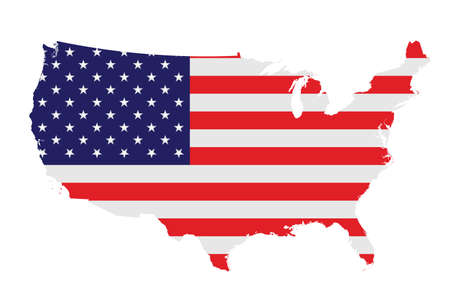 Illustration pour Flag of the United States of America overlaid on detailed outline map isolated on white background - image libre de droit
