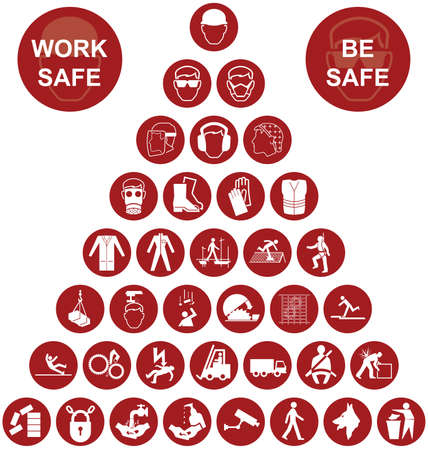 Red construction manufacturing and engineering health and safety related pyramid icon collection isolated on white background with work safe message