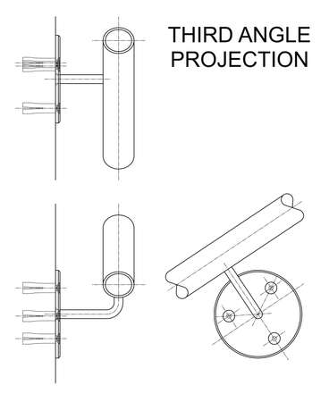 Example of third angle orthographic projection drawing using handrail wall fixing assembly to British Standard BS 8888