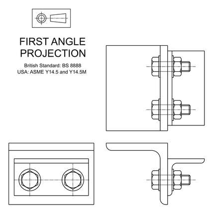 Example of first angle orthographic projection drawing using rolled steel angle assembly