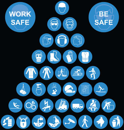 Illustration pour Cyan construction manufacturing and engineering health and safety related pyramid icon collection isolated on black background with work safe be safe message - image libre de droit