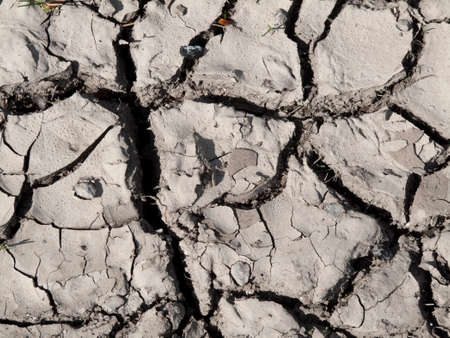 Dry cracked soil in the countryside due to shortage of rainfall