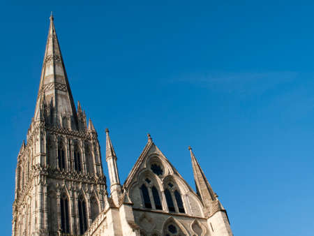 Salisbury Anglican medieval gothic Cathedral, formally known as the Cathedral Church of the Blessed Virgin Mary, built 1220 to 1258