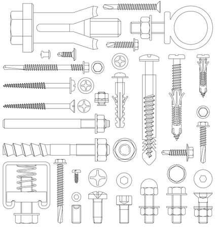 Illustration pour Outline diagram of various fixings including screws bolts nuts washers rivets - image libre de droit