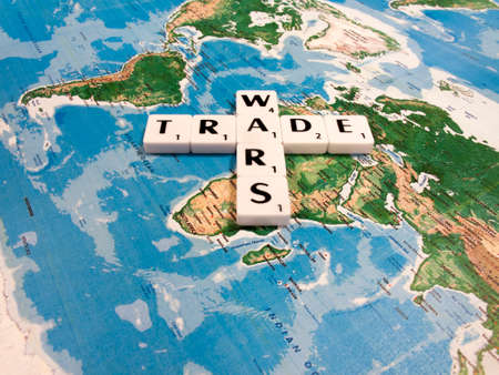 representation of world trade war initiated by United States of America import tariffs on steel and aluminium