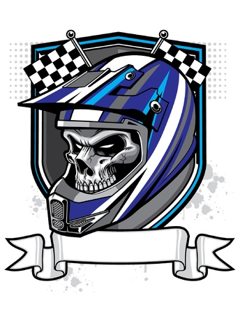 Illustration pour vector skull wearing trail helmet and banner  - image libre de droit