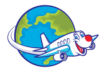 Ilustración de cartoon plane flying around the globe - Imagen libre de derechos