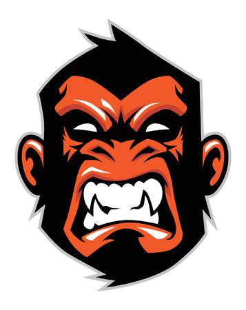 Illustration pour angry monkey head Vector illustration. - image libre de droit