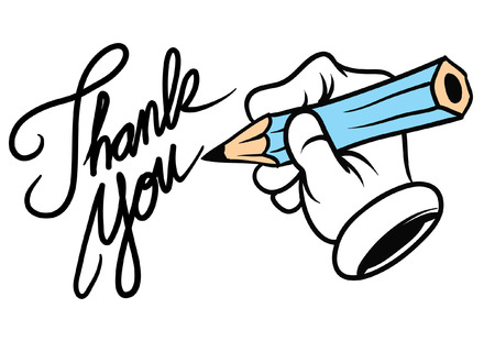 Illustration for hand writing thank you - Royalty Free Image