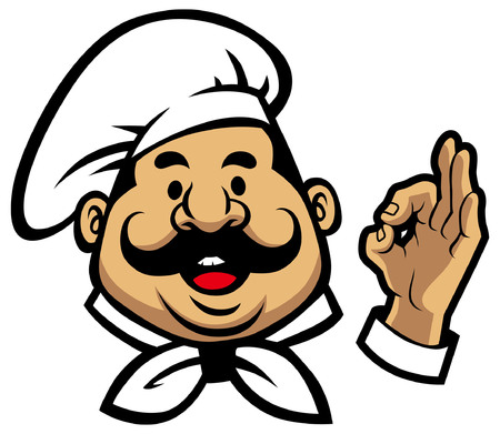 Illustration for Chef mascot with okay hand sign isolated on white background - Royalty Free Image