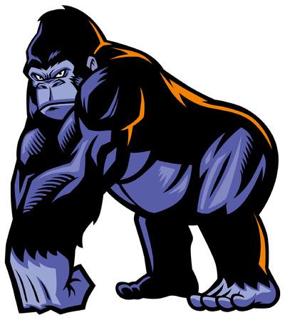 Illustration pour big gorilla mascot with muscle giant body - image libre de droit