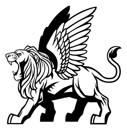 Illustration for winged lion - Royalty Free Image