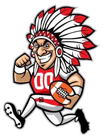 Illustration pour football mascot of indian chief - image libre de droit