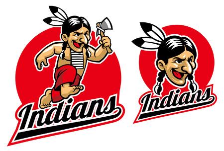 Illustration pour indian warrior mascot - image libre de droit