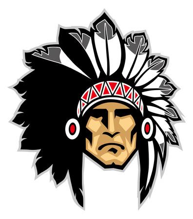 Illustration pour mascot of indian chief mascot - image libre de droit