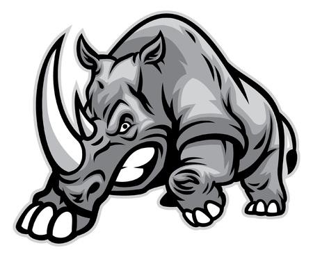 Ilustración de angry rhino ready to ram - Imagen libre de derechos