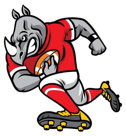 Ilustración de Rhino as an american football player - Imagen libre de derechos
