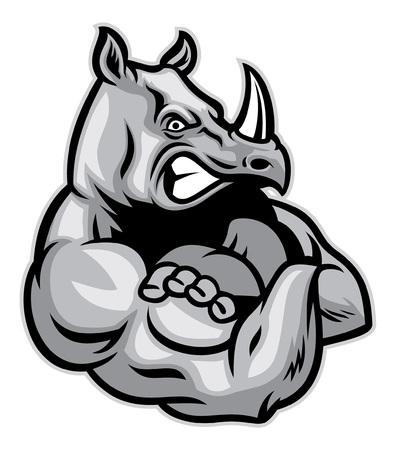 Ilustración de rhino show his big muscle - Imagen libre de derechos