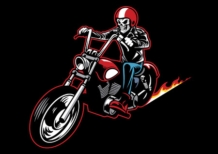 Illustration pour skull wearing a leather biker jacket and ride a motorcycle - image libre de droit