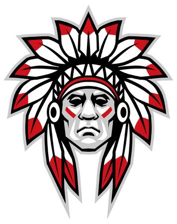 Illustration pour indian head chief mascot - image libre de droit