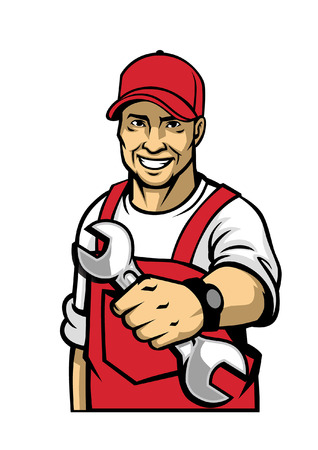 Illustration for mechanic pose with holding wrench - Royalty Free Image
