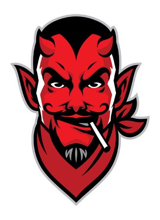 Illustration pour head mascot of devil with cigarette on his mouth - image libre de droit