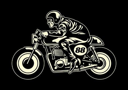 Illustration pour vintage retro vector art man riding vintage motorcycle - image libre de droit