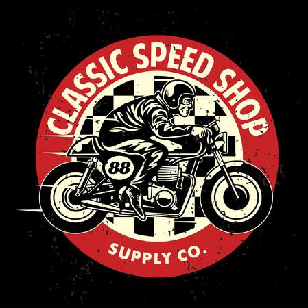 Illustration pour motorcycle theme design with man riding the caferacer - image libre de droit