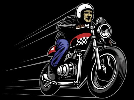 Illustration pour caferacer rider mascot - image libre de droit