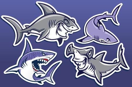 Illustration pour set collection of shark character - image libre de droit