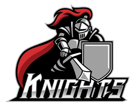 Illustration pour knight mascot with sword and the shield - image libre de droit