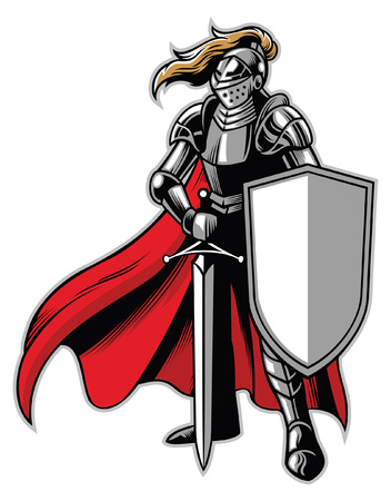 Illustration pour knight mascot standing with shield and sword - image libre de droit