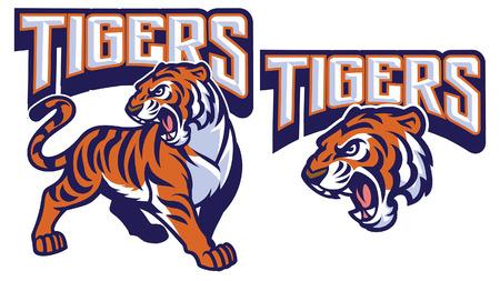 Illustration pour set of tiger mascot collection - image libre de droit