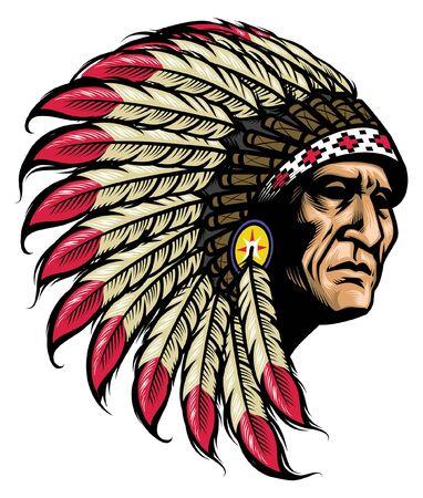 Illustration pour hand drawing of american native chief head - image libre de droit