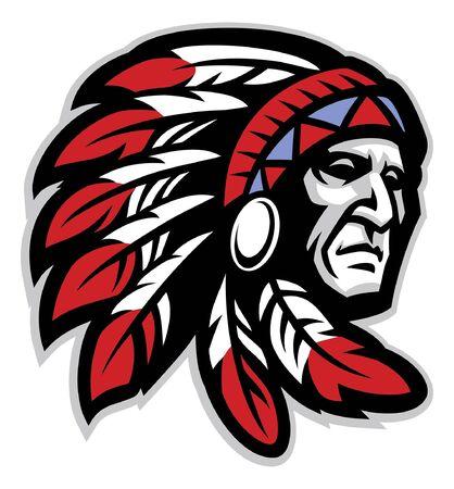 Illustration pour head mascot of american native chief - image libre de droit