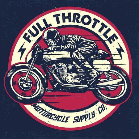 Illustration pour racing badge of motorcycle race in vintage style - image libre de droit