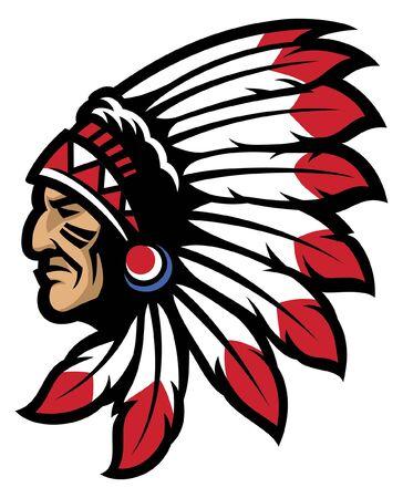 Illustration pour indian chief head mascot - image libre de droit